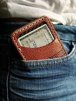 Brown Front Pocket Wallet Built From Old Footballs