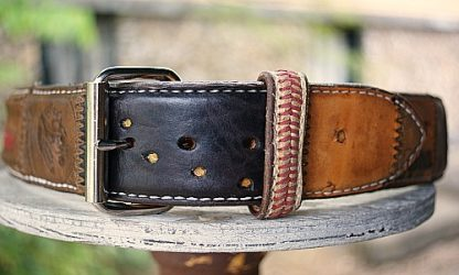 Brown belt made from Baseball Glove Leather