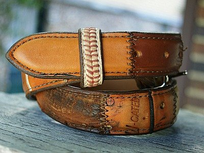 leather belt made from old baseball gloves, baseball leather accent