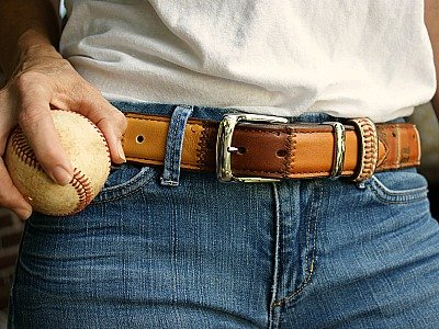 brown baseball glove leather belt with silver buckle