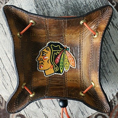valet tray made from hockey glove leather
