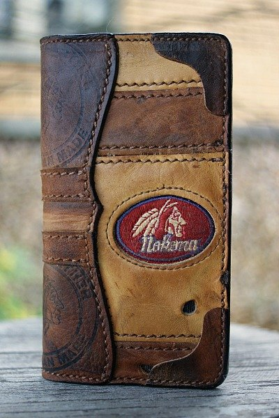 Tall Boy Wallet in Nokona baseball Glove Leather