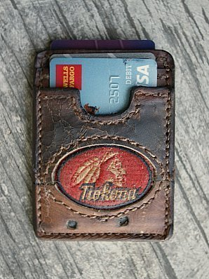 three-pocket wallet built from nokona baseball glove leather