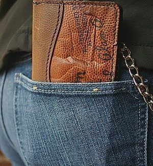 brown football leather chain wallet from Vvego.com