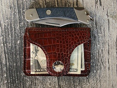 brown alligator leather minimalist wallet with silver magnetic clip