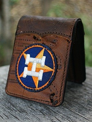 Custom Astros Bi Fold Wallet Featured In Nokona Glove Leather