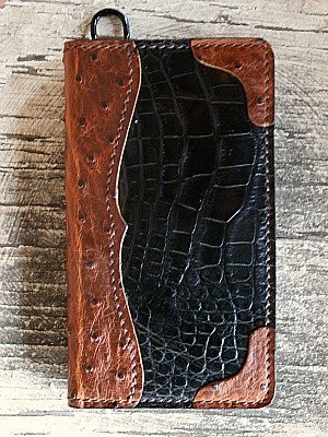 Custom Alligator & Ostrich Tall Boy Wallet