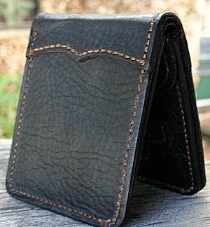 bi fold wallet in brown-black bison leather from Vvego.com
