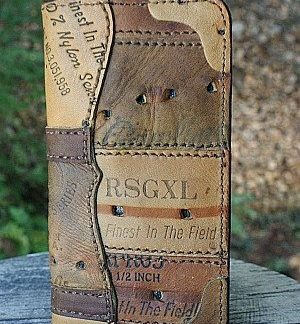 tall boy wallet from brown baseball glove leather -- vvego.com