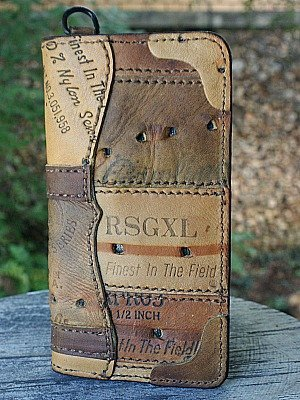 Custom Tall Boy Wallet Built From Baseball Glove Leather