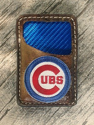brown vvault wallet with cobalt blue carbon fiber lining made from a baseball glove, Cubs logo