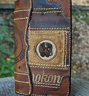 brown checkbook cover made from Nokona baseball glove leather