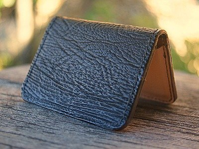 Custom Business Card Holder Featured In Genuine Sharkskin w/ Kangaroo Leather Lining