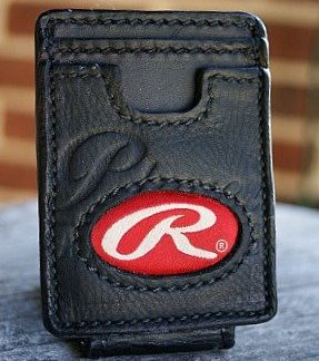 black three-slot front pocket wallet, rawling baseball glove leather (custom made)