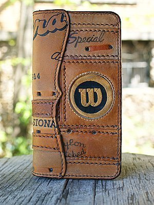 tall boy wallet made from Wison baseball glove leather