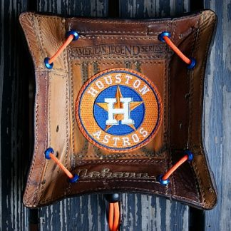 Custom Astros Valet Tray Built From Baseball Glove Leather