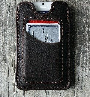 bison leather phone sleeve/credit card wallet -- vvego.com