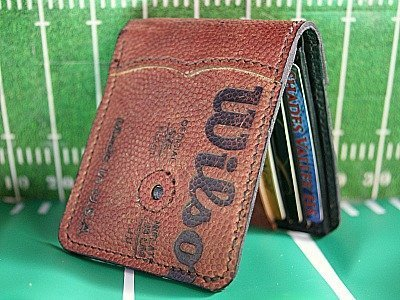 Custom Traditional Bi Fold Wallet Built From Vintage Footballs