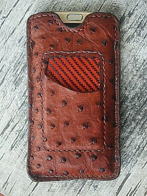 phone sleeve & card holder made from ostrich leather -- vvego.com