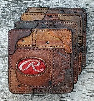 brown leather coasters made from baseball gloves - vvego.com