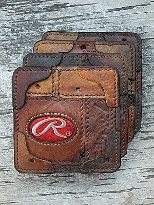 Custom Drink Coasters Built From Baseball Glove Leather