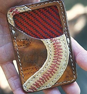baseball glove leather wallet with baseball leather accents