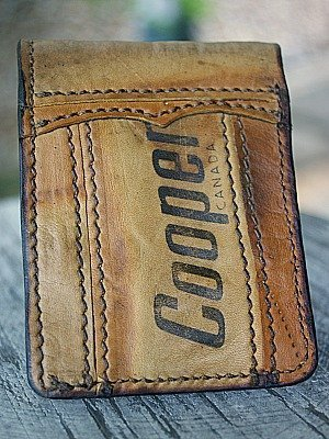 Custom Traditional Bi Fold Wallet Built From Hockey Glove/Pad Leather