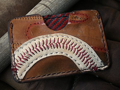 Classic Card Case Made From Recycled Baseball Glove Leather