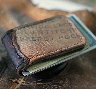 Men's Magnetic Money Clip Made from Baseball Gloves