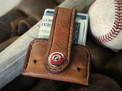 recycled baseball glove wallet -- the Vvapor