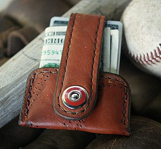 Minimalist wallet built from baseball glove leather