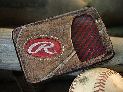 Repurposed Baseball Glove Wallet - Front Pocket